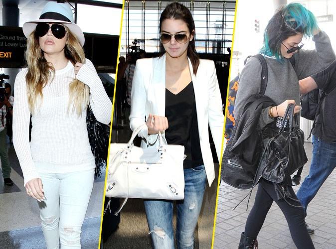 Khloe Kardashian et Kendall et Kylie Jenner en route pour Paris, le 19 mai 2014.