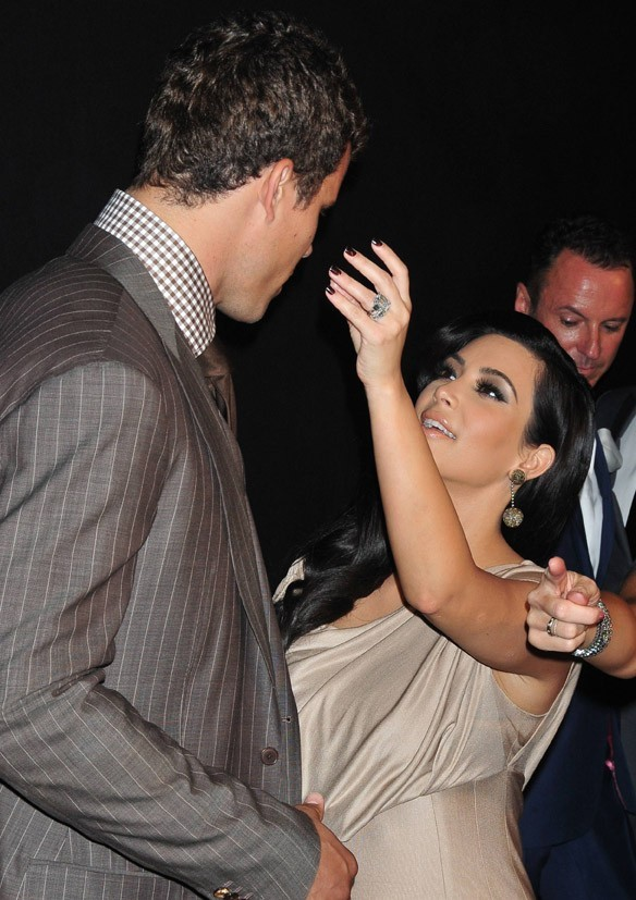 Kim Kardashian et son mari Kris Humphries lors de leur seconde soirée de mariage à New York, le 31 août 2011.