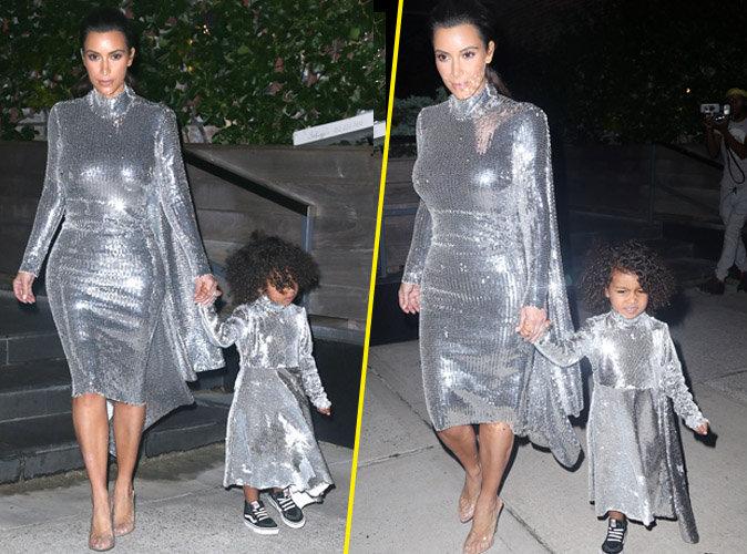 Photos : Kim Kardashian et North West : Scintillantes et assorties pour soutenir Kanye !