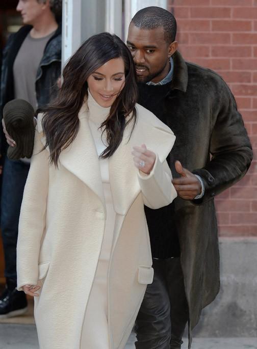 Kim Kardashian et Kanye West à New-York le 22 février 2014