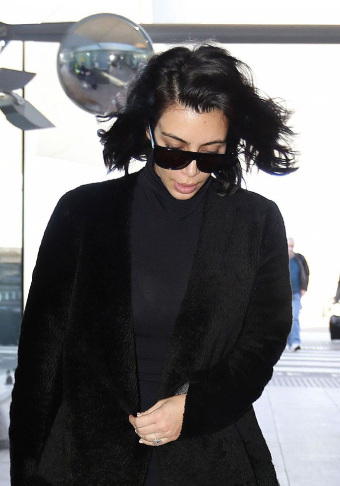 Kim Kardashian à l'aéroport Heathrow de Londres le 27 février 2015