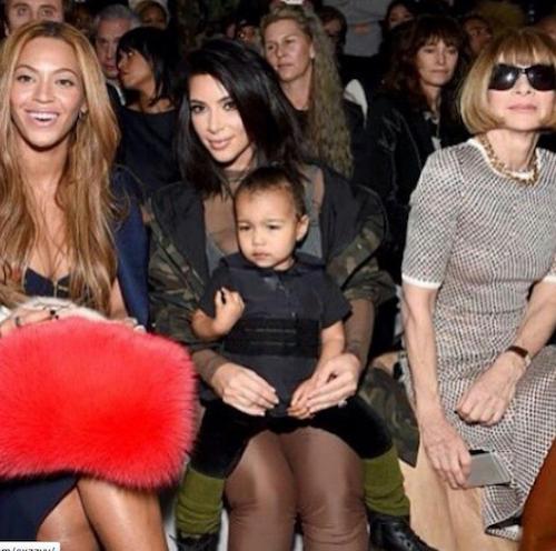 Beyoncé, Kim Kardashian et North West au défilé Kanye West x Adidas le 12 février 2015