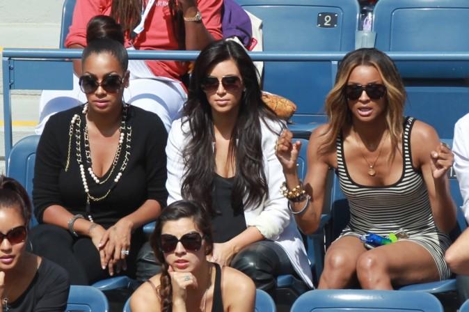 La La Anthony, Kim Kardashian et Ciara lors du tournois de l'US Open à New York, le 8 septembre 2011.