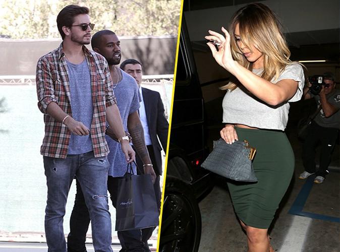 Scott Disick, Kanye West et Kim Kardashian à Los Angeles le 13 novembre 2013