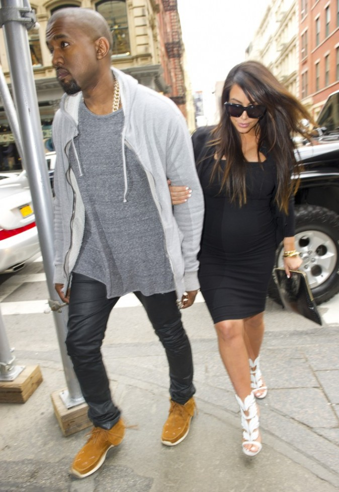 Kim Kardashian et Kanye West à New York, le 22 avril 2013.