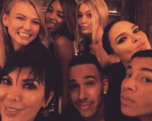 Karlie Kloss, Jourdan Dunn, Gigi Hadid, Kris Jenner, Lewis Hamilton, Kendall Jenner, Olivier Rousteing à l'after show Balmain à Paris, le 5 mars...