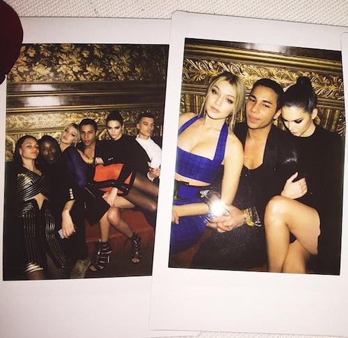 Kendall Jenner, Gigi Hadid,Olivier Rousteing, etc à l'after show Balmain à Paris, le 5 mars 2015 !