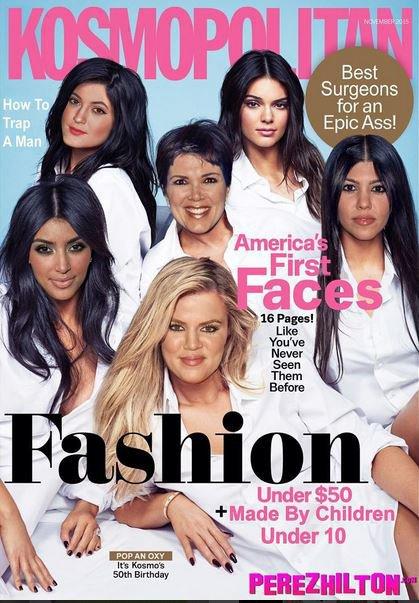 Le clan Kardashian Jenner en une de Kosmopolitan