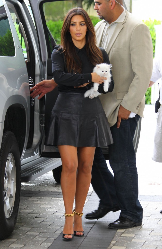 Kim Kardashian et son chat à Miami,  le 16 septembre 2012.
