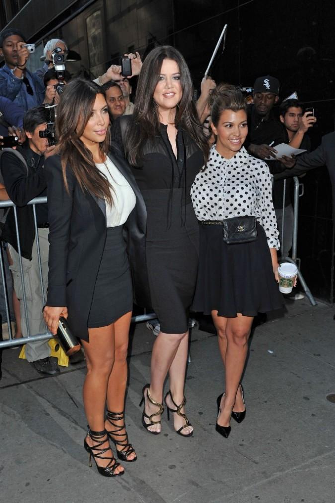 Kim, Khloe et Kourtney Kardashian à New York, le 13 septembre 2012.