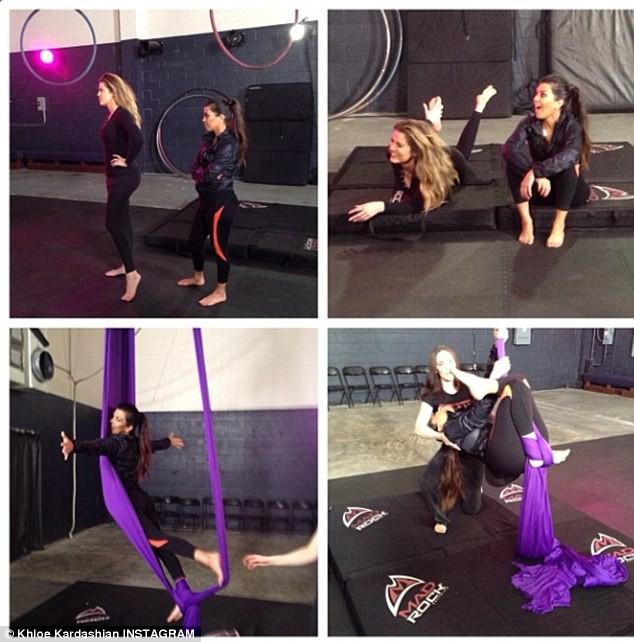 Kourtney et Khloe Kardashian en plein cours de sport à Los Angeles, le 30 janvier 2014.