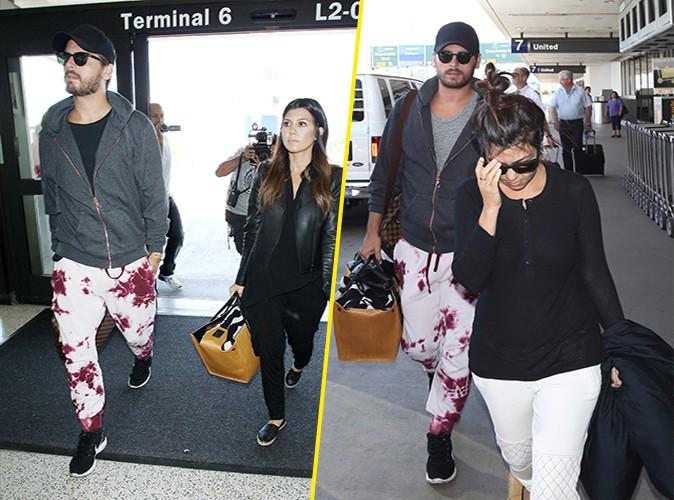 Scott Disick et Kourtney Kardashian à l'aéroport de Los Angeles les 10 et 11 mai 2014