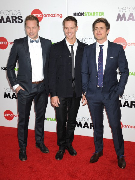 """Ryan Hansen, Jason Dohring et Chris Lowell lors de la première du film """"Veronica Mars"""" à New York, le 10 mars 2014."""