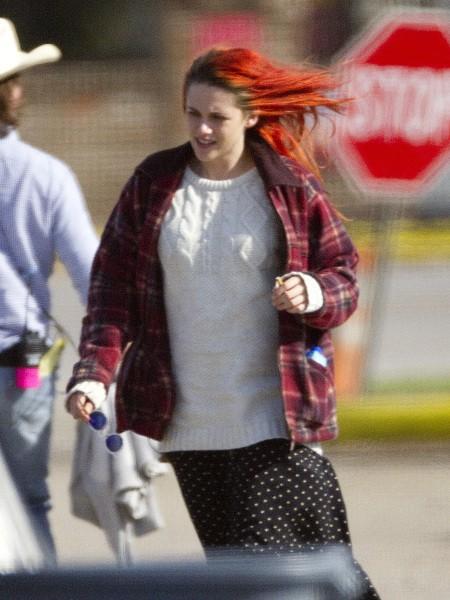 """Kristen Stewart sur le tournage du film """"American Ultra"""" à la Nouvelle-Orléans, le 15 avril 2014."""