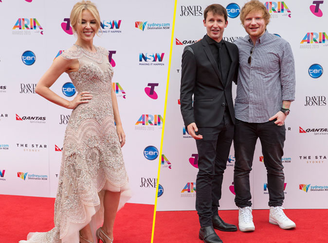 Kylie Minogue, Ed Sheeran et James Blunt le 25 novembre 2015