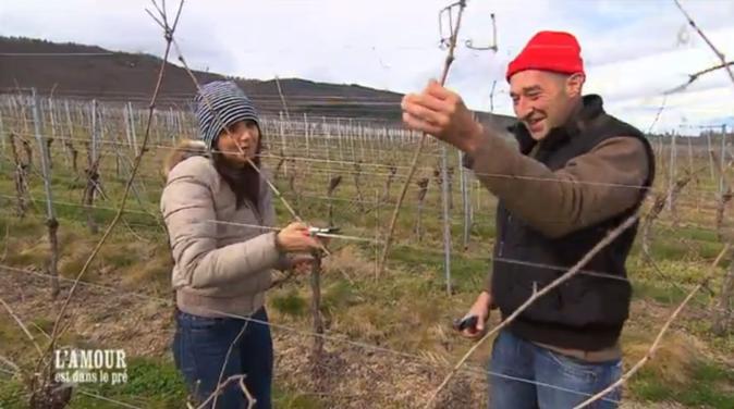Bruno explique son travail de la vigne à Laetitia