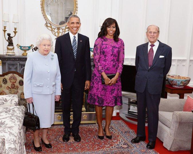 La reine Elizabeth et les Obama