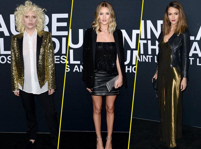 Lady Gaga, Rosie Huntington-Whiteley et Jessica Alba : stars du front row pour Saint Laurent