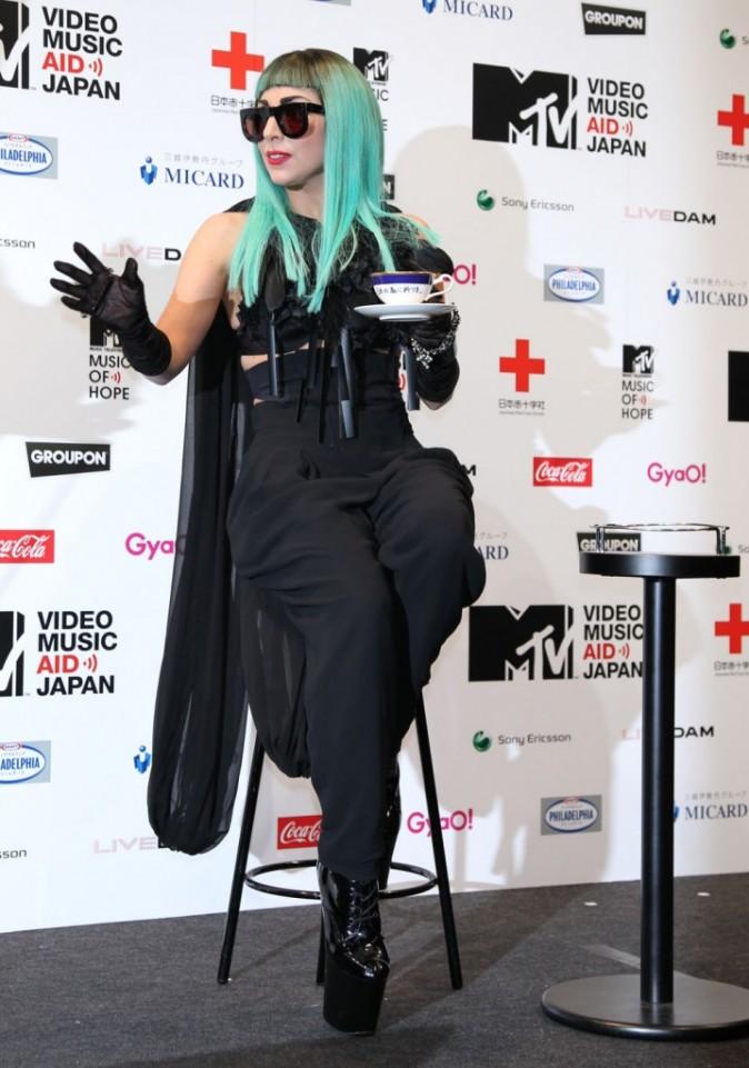 Lady Gaga lors de la conférence presse de la soirée MTV Video Music Aid Japan à Tokyo, le 22 juin 2011.