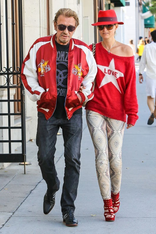 Laeticia et Johnny Hallyday, un couple assorti, à Beverly Hills le 10 avril 2013