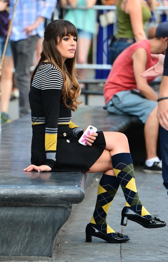 Lea Michele le 11 août 2012 sur le tournage de Glee à New York