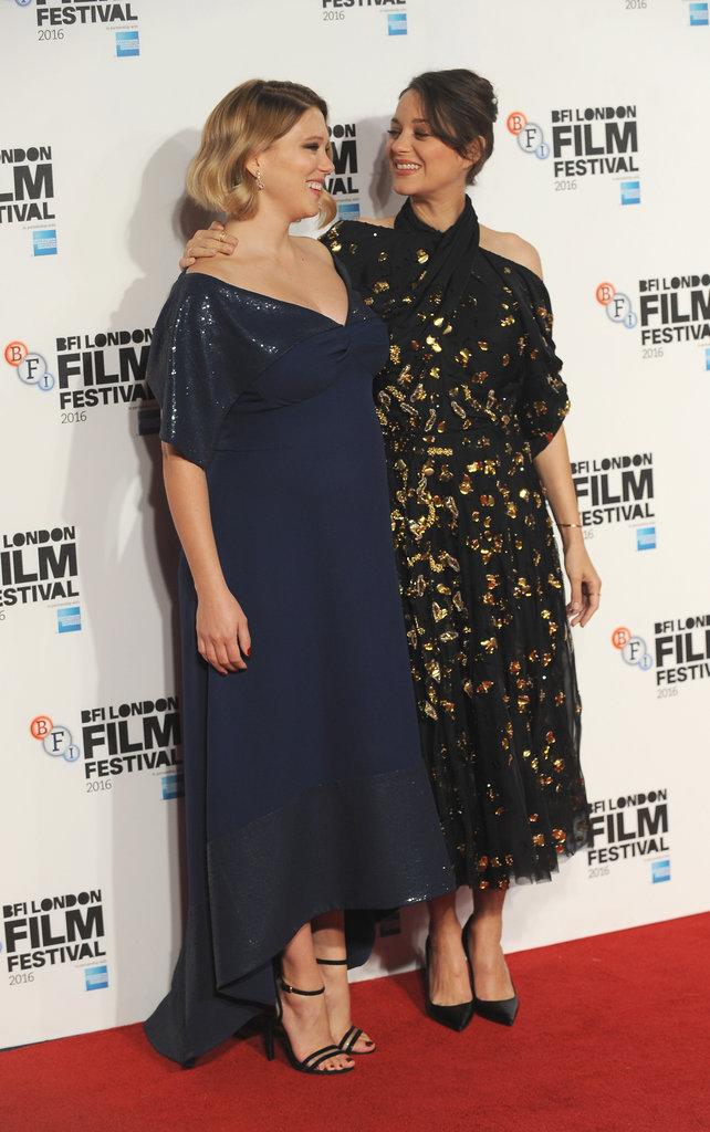 """Léa Seydoux et Marion Cotillard lors de la première du film """"Juste la fin du monde"""""""