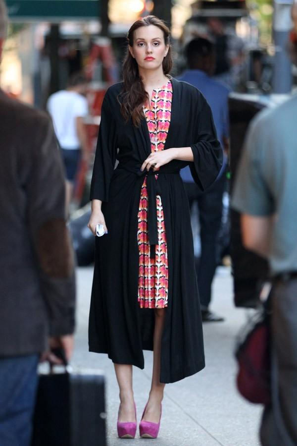 Leighton Meester sur le tournage de Gossip Girl le 28 août 2012 à New-York