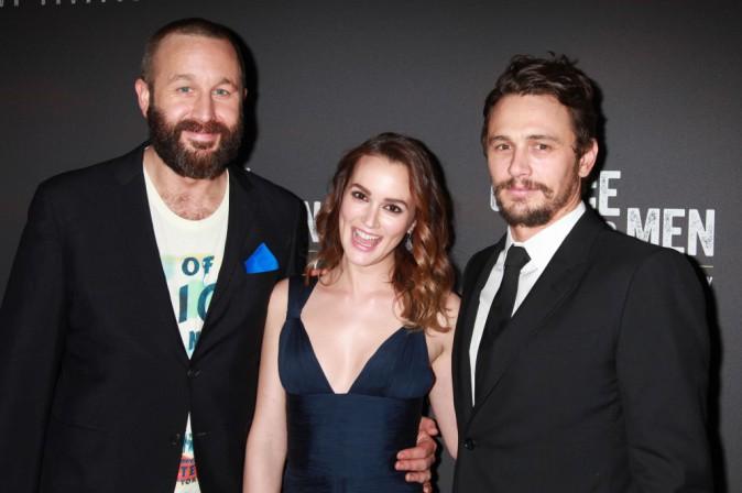 """Chris O'Dowd, Leighton Meester et James Franco lors de la première de la pièce """"Des souris et des hommes"""" à New York, le 16 avril 2014."""