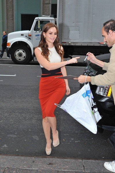 Leighton Meester en promo à New York, le 3 octobre 2012.