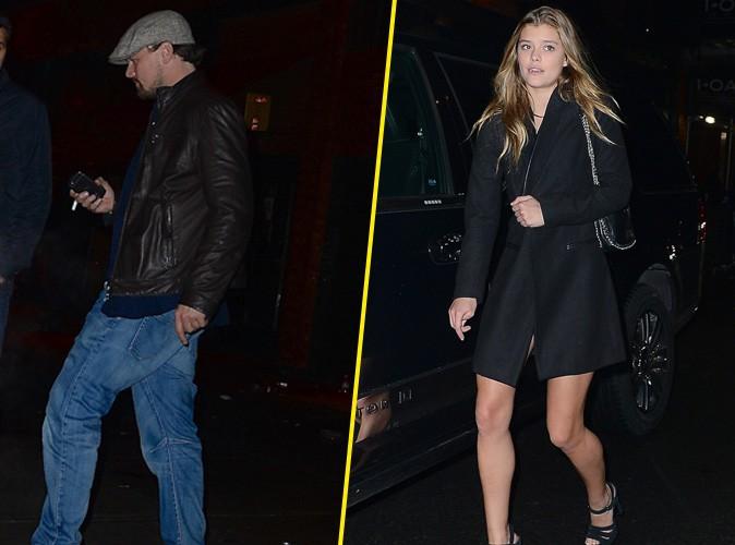 Leonardo DiCaprio et Nina Agdal à la sortie du Club Avenue, le 3 février 2014 au matin à New York.