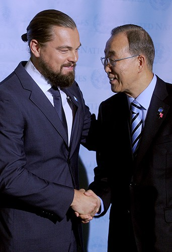 Leonardo DiCaprio et Ban Ki-moon à New York le 21 septembre 2014