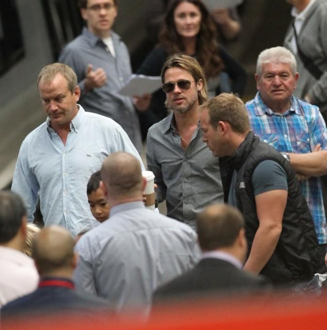 Les Brangelina à la gare d'Euston à Londres, le 16 août 2011.