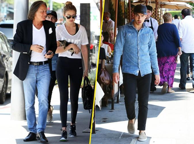 Gigi Hadid et son père et Joe Jonas le 15 juin 2015