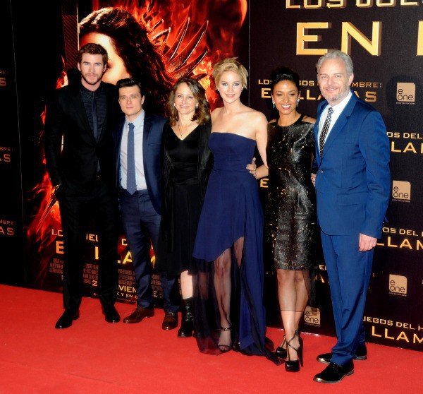 "Casting du film ""Hunger Games : L'Embrasement"" à Madrid, le 13 novembre 2013."