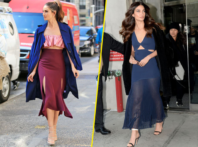 Photos : Lily Aldridge : look tricolore et robe transparente en promotion pour Victoria's Secret