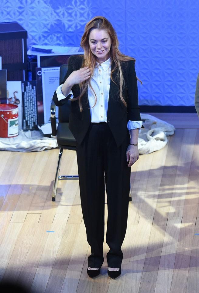 """Lindsay Lohan à la première de sa pièce """"Speed-the-Plow"""" jouée à Londres le 24 septembre 2014"""