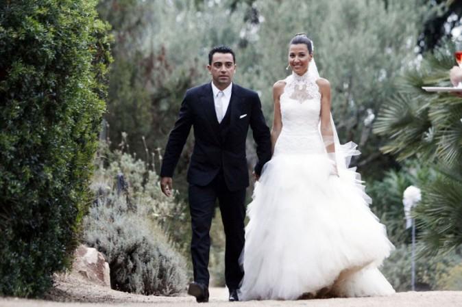 Xavi Hernandez et Nuri Cunillera lors de leur mariage à Blanes le 13 juillet 2013