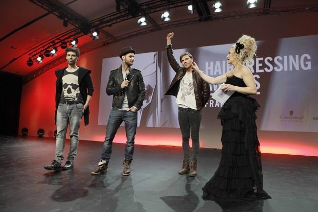 """M. Pokora, Dominique Dume et Nyco Lilliu lors de la soirée des """"Schwarzkopf Hairdessing Awards 2013"""" à Paris, le 24 mars 2013."""