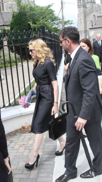 Madonna aux obsèques de son ami David Collins, le 23 juillet 2013.