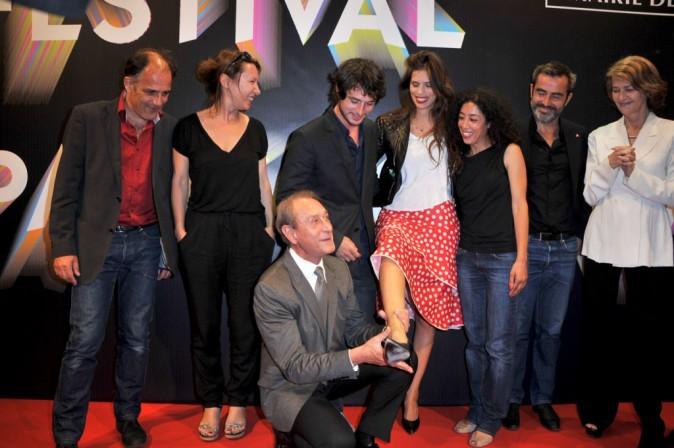Maïwenn Le Besco, Bertrant Delanoë et l'équipe du film Polisse lors du Festival Paris Cinéma, le 30 juin 2011 à Paris.