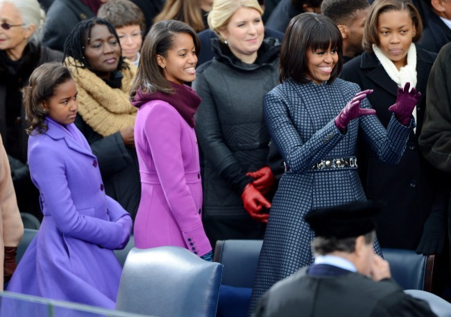 Malia Ann, Sacha et Michelle Obama, Washington, 21 janvier 2013.