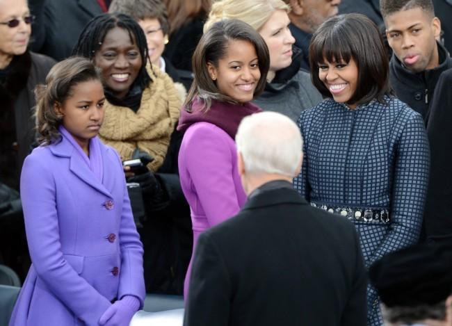 Malia Ann, Sacha et Michelle Obama, Washington, 21 janvier 2013.