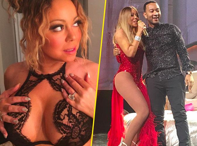 Photos : Mariah Carey : Décolleté vertigineux et fente indécente... Elle fait tourner la tête à John Legend !