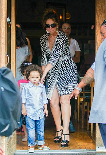 Mariah Carey en famille à New York le 26 août 2014