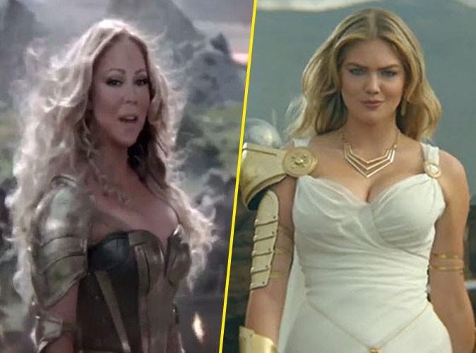 Mariah Carey et Kate Upton dans une publicité Game of War
