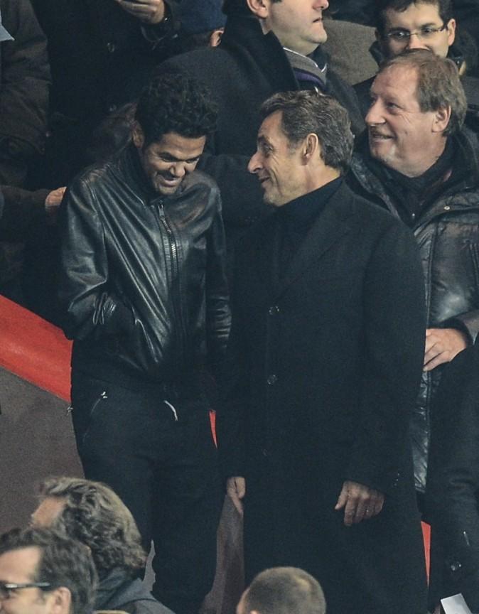 Jamel Debbouze et Nicolas Sarkozy au Parc des Princes, le 2 avril 2013.