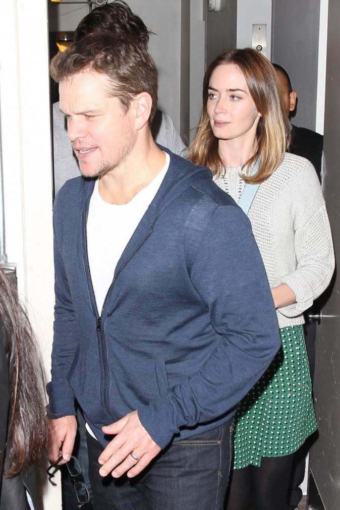 Matt Damon et Emily Blunt à un dîner entre amis à Los Angeles, le 12 novembre 2014