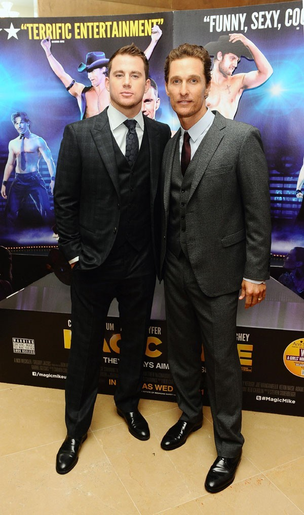 Matthew McConaughey et Channing Tatum à la présentation de Magic Mike à Londres le 10 juillet 2012