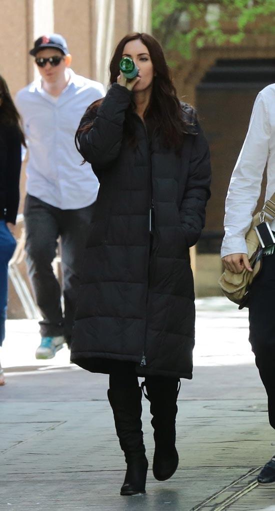 Megan Fox sur le tournage des Tortues Ninja à New-York le 4 mai 2013