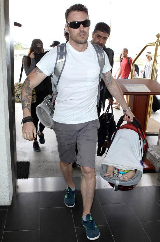 Megan Fox et Brian Austin Green à l'aéroport de Los Angeles le 7 juillet 2013